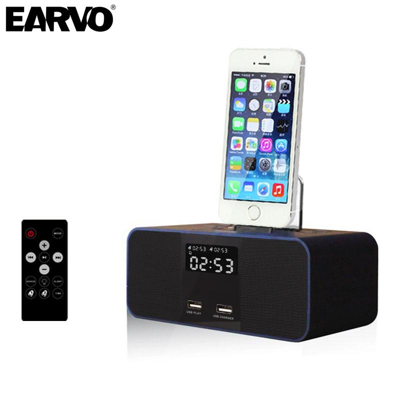 Prix pour Sans fil Bluetooth Haut-Parleur S6 NFC Radio Réveil Portable Audio Musique 8 broches Chargeur Dock Station pour iPhone 7 SE 5S 6 6 s Plus
