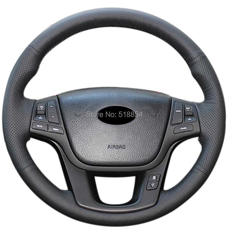 2014 Kia Cadenza Interior: Black Artificial Leather Car Steering Wheel Cover For Kia