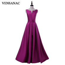 VENSANAC V Neck Bow Sash Sleeveless A Line Long Evening Dresses 2018 Elegant Satin Backless Party Prom Gowns