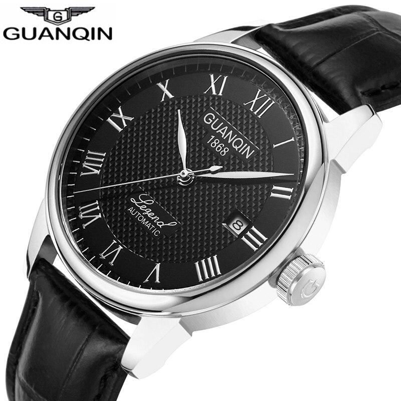 Relogio Masculino GUANQIN 2018 Mechanische Automatische business Heren Horloges Top Brand Luxe Lederen polshorloge klok mannen-in Mechanische Horloges van Horloges op  Groep 1