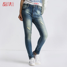 S-6XL Plus Size Women 2015 Leiji Fashion Skinny Jeans Dark Wash Hole Sexy Painted Slim Pants Mid Waist Elastic Ripped Jeans