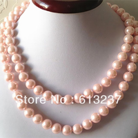 Hot Free Shipping New 2014 Fashion Style Diy Pretty 10mm Pink South Sea Shell Pearl Necklace