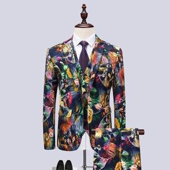 Men's suits men's casual suit three-piece suit (jacket + pants + vest) men's printing fashion dress wedding groom slim dress