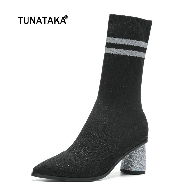 Ladies Comfort Knitting Square Heel Sock Boots Fashion Slip On Sequined Heel Ankle Boots Women Pointed Toe Spring Autumn Shoes women high quality comfort knitting thick heel ankle boots fashion slip on flower pointed toe spring autumn sock boots black