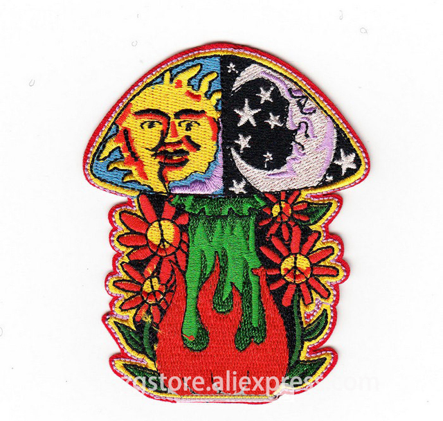 US $22 0 |Hot Selling ! NEW Embroidery Music Rock Band Patches Psychedelic  Rock sun and moon Patches Iron on 7 3cmx9 0cm EPJS111-in Patches from Home