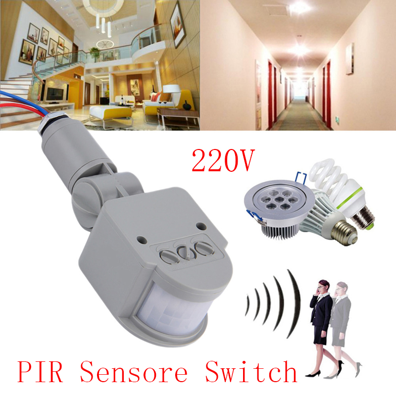 цена на High Quality Adjustable Motion Sensor Wall Light Lamp PIR Infrared Motion Switch Sensor Detector AC220v Outdoor for LED light