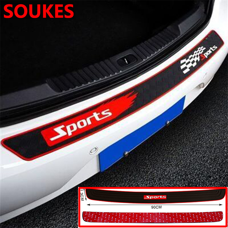 Car Styling Sport Rubber Trunk Protective Strip Sticker For Hyundai Solaris Tucson 2016 I30 IX35 I20 Accent Santa Fe Citroen C4