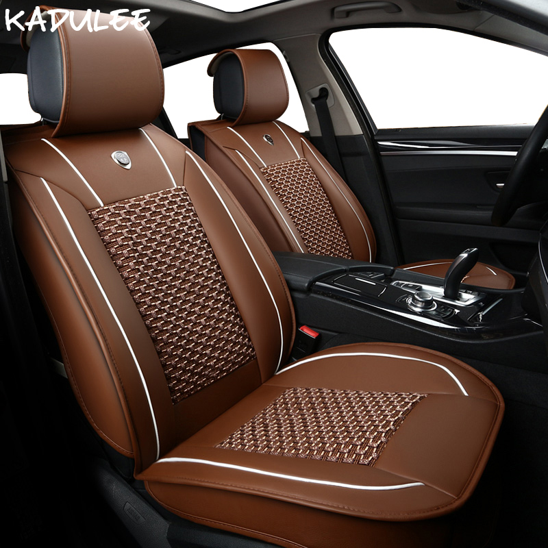 KADULEE ice silk car seat covers for chevrolet niva toyota avensis lada largus mitsubishi carisma volvo s60 nissan car-styling car seat covers racing for smart fortwo lada largus nissan leaf kia sorento bmw x5 e70 audi a3 8v car styling polyester cushion