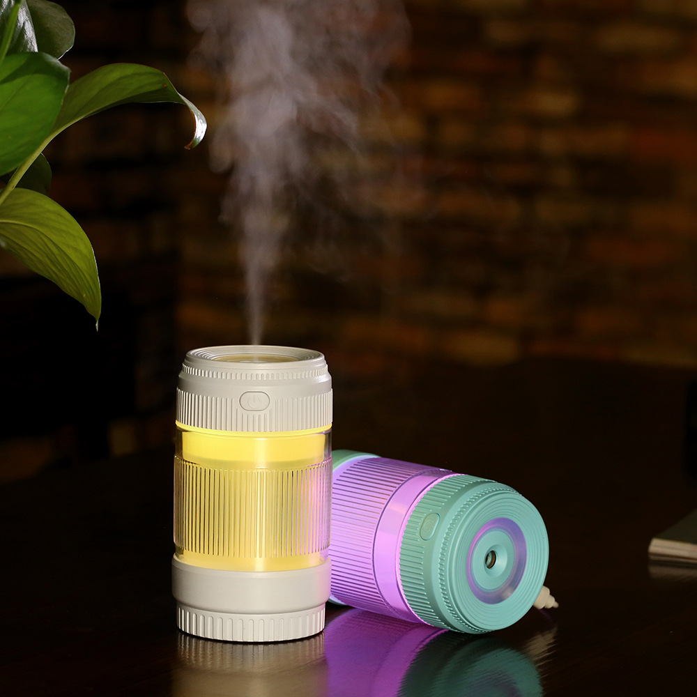 200ml Creative Mini Lens USB Humidifier Household Office Desktop LED Lights Fogger Atomizer Car Portable Ultrasonic Air Purifier 5v led lighting usb mini air humidifier 250ml bottle included air diffuser purifier atomizer for desktop car