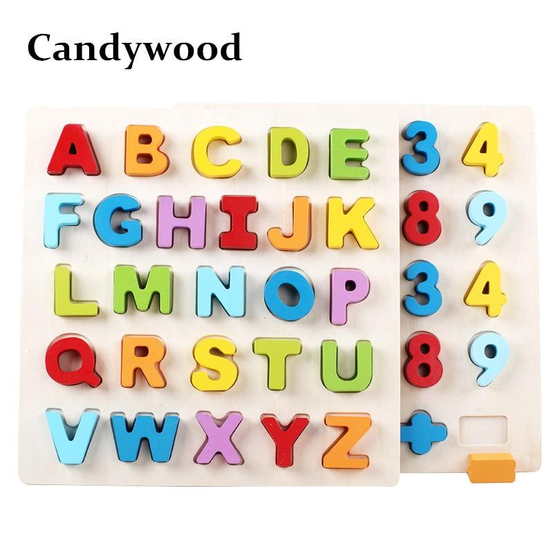 Candywood 30 CM Alfabet Digit Leren Hand Greep Houten Puzzel Montessori Onderwijs speelgoed voor Kind kids Vroeg Leren speelgoed