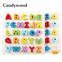 Candywood 30CM Alphabet Digit Learning Hand Grasp Wooden Puzzle Montessori Education toys for Child kids Early Learning toys