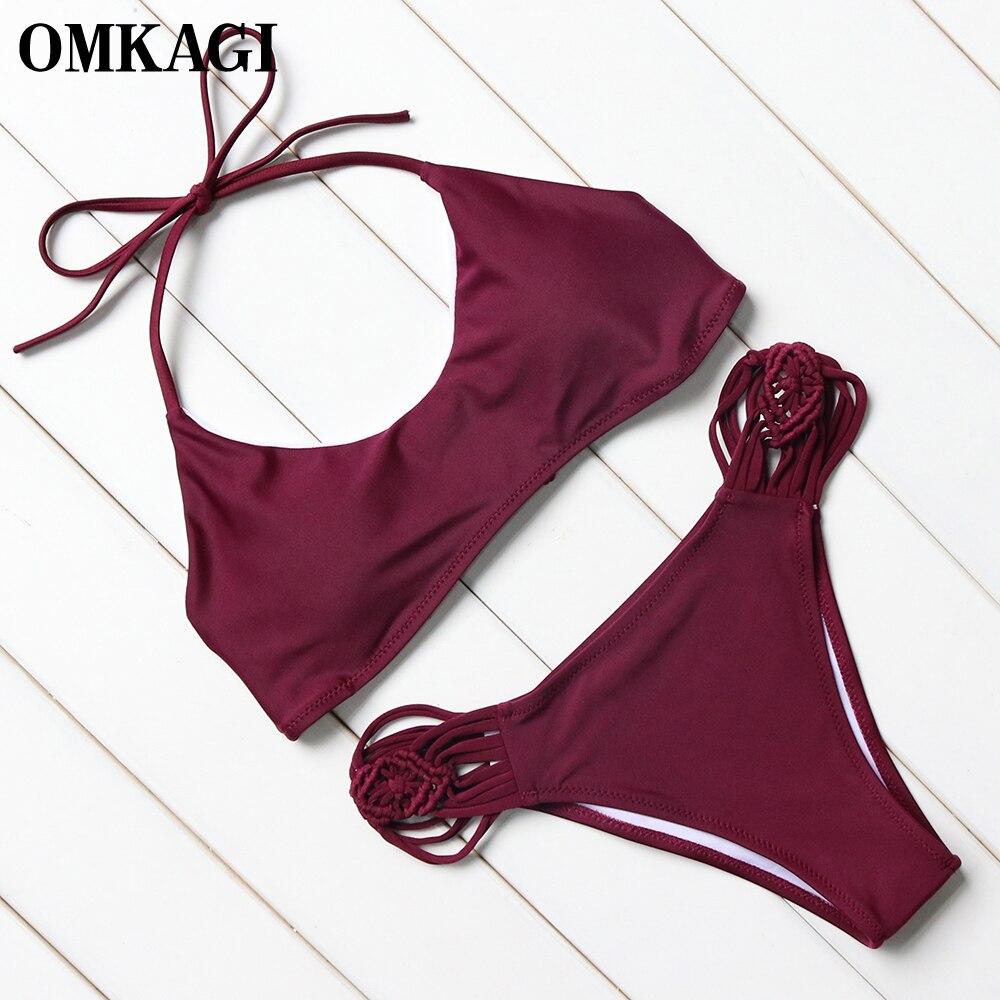 OMKAGI Sexy Bikini Swimwear Swimsuit Women 2017 Solid Bikini Set Bathing Suit Biquini Beachwear Maillot De Bain Femme Swim Wear