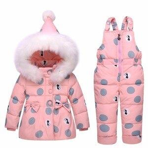 Image 5 - 2020新冬子供服セット暖かいパーカーダウンジャケット女の赤ちゃんの服子供のコートの雪の摩耗子供スーツ