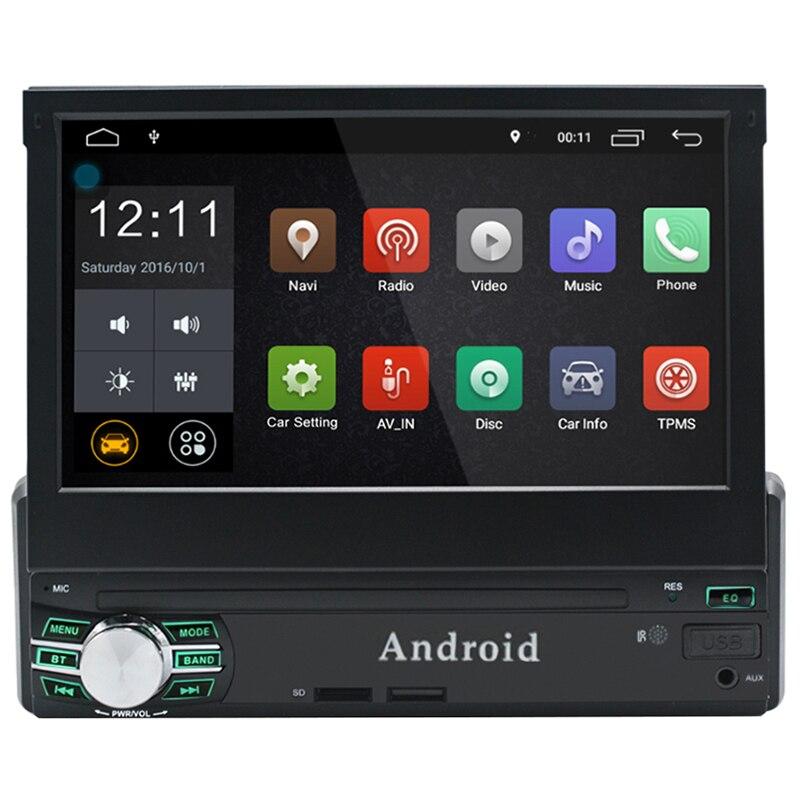 Universel 7 pouce 1080 p Unique Din Rétractable Android 6.0 Lecteur DVD de Voiture écran tactile Numérique De Voiture Media Player 1 gb + 16 gb