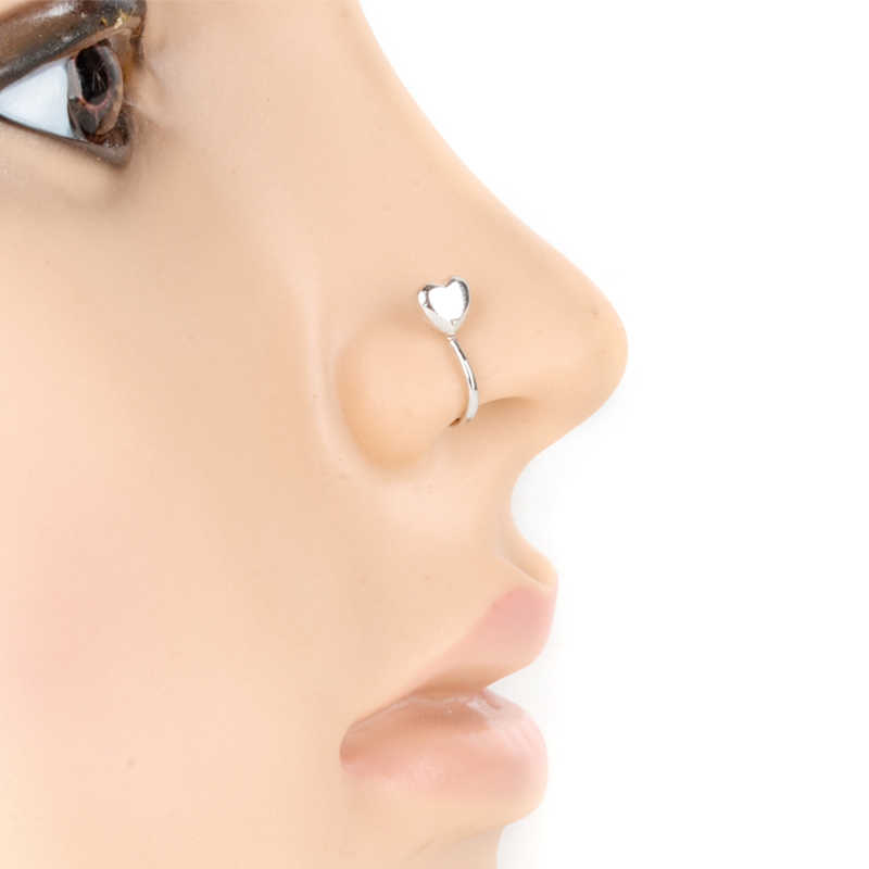 Boho Fake Nose Clip Fashion Stainless Steel Heart Non Piercing