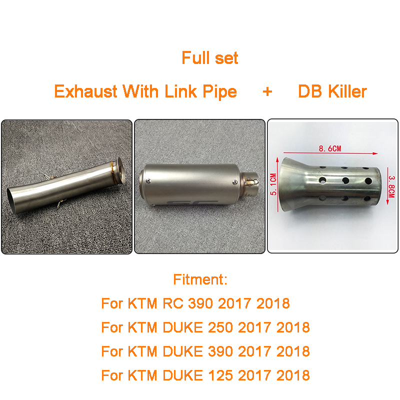 Moto Motorcycle Full Set of Exhaust With Link Pipe and Silencer Pot Escape For KTM DUKE 390 250 125 RC 390 2017 2018 Slip-on цены