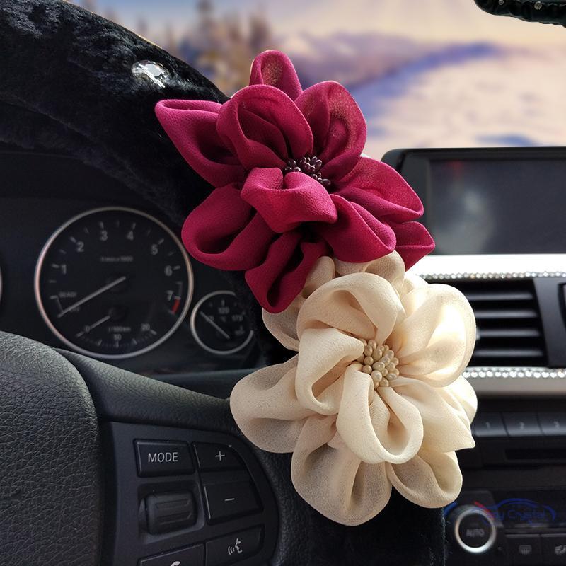Flor color de rosa de cristal Auto volante invierno de felpa piel - Accesorios de interior de coche - foto 5