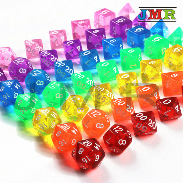 Top Quality Set of 7 Translucent Sided Dice D4 D6 D8 D10 D12 D20 for  Dungeons and Dragons Dice Dados Rpg Boardgame 30f111b2cce1