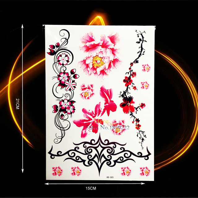 Large Size 21x15cm Henna Flower Temporary Tattoo Women Girl Body