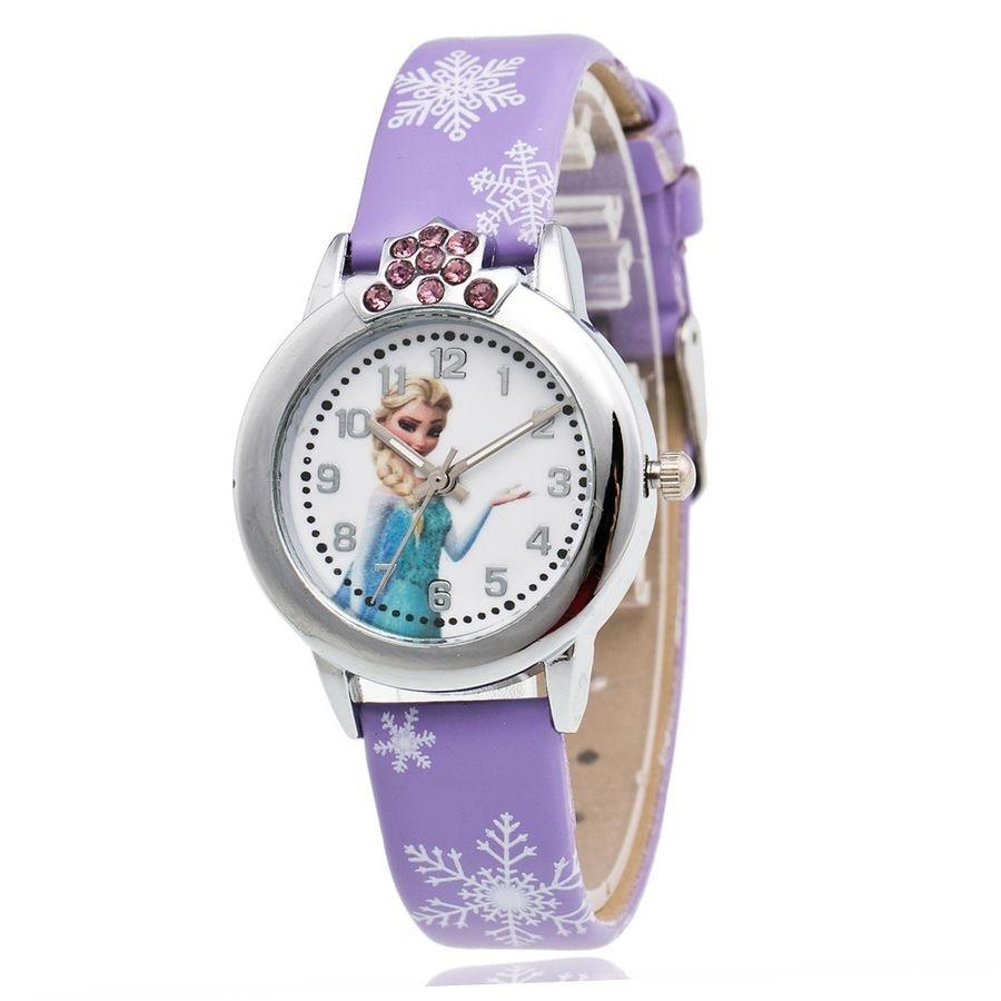 New Cartoon Princess Elsa Anna Children Watches Fashion Girl Kids Gifts Student Leather Analog Wrist Girls Watches Kids Watches