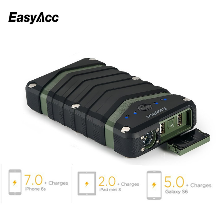 EasyAcc 20000mAh Power Bank bärbar laddare 2USB 18650 Externt batteri med ficklampa för iPhone Xiaomi Waterproof Outdoor