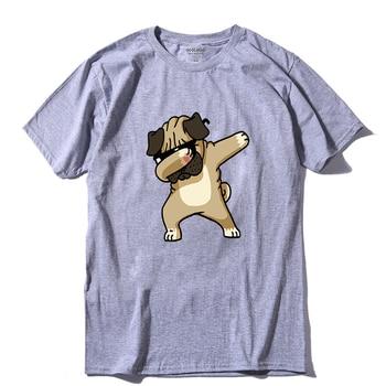 COOLMIND DA0120A 100% katoen dab pug print mannen t-shirt casual o-hals zomer t-shirt cool mens tee shirts grappig t-shirt