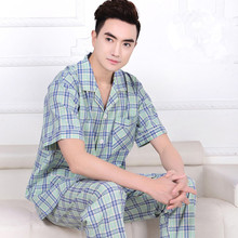 2016 New Pajamas For Men Summer Pyjamas Men Cotton Woven Plaid Sleepwear Short-sleeve Sleep Men lounge Pajama set Loose