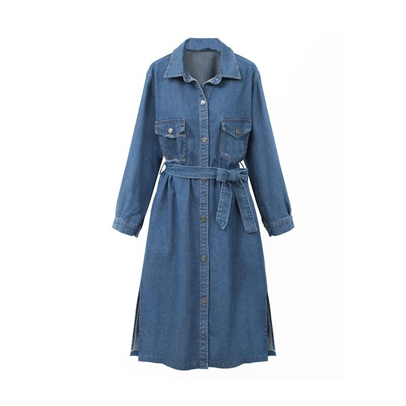 Bleu Vintage Manches Femme Manche Longue Femelle Slim Manteau À Denim Taille Mode Femmes La Veste Automne Jeans 4xl Survêtement Longues Plus RzZPW6qc