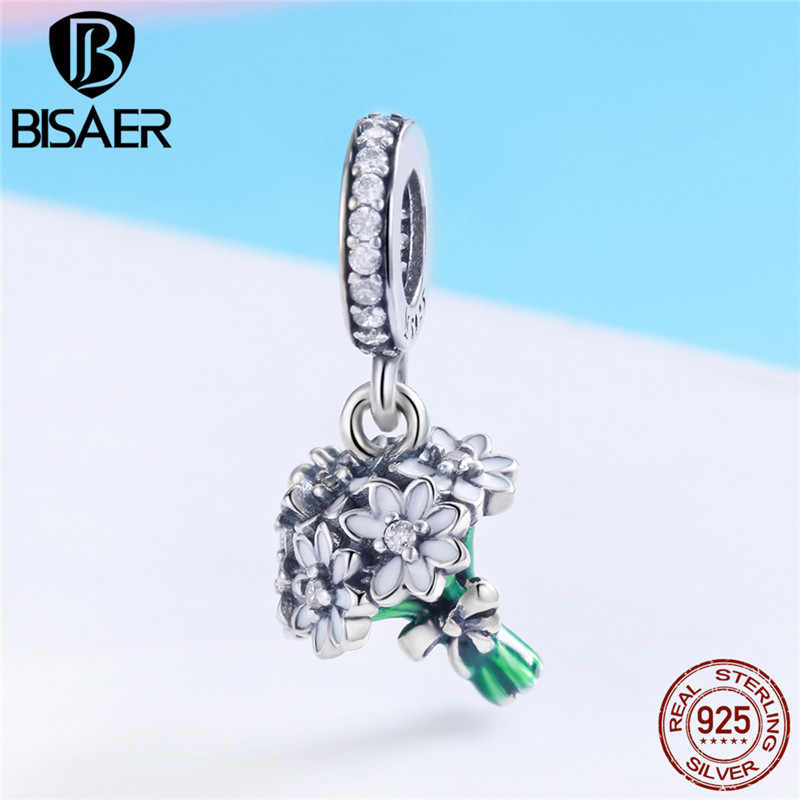 Подвеска в форме букета Шарм 925 пробы серебро Дейзи куча ожерелье с подвеской в виде цветка для бисерный браслет ювелирное изделие изготовления девушка подарок GXC774