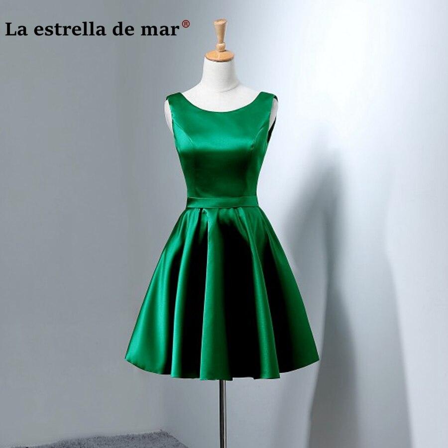 Robe de festa longo para casamento vestido para madrinha 2019 Satin dos genou longueur une ligne robes de demoiselle d'honneur sarcelle émeraude