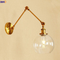 IWHD Glass Ball Retro Vintage Wall Light Fixtures Gold Loft Industrial Edison Home Lighting Adjustable Long Arm Wall Lamp