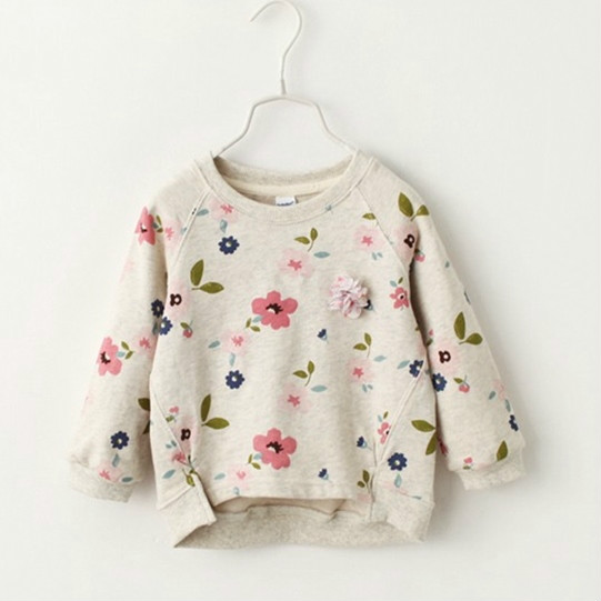 New Arrive Girls Sweatshirts Collar Fresh Flowers Full Sleeved Toddler Children Clothes Kids T-shirt For Girls