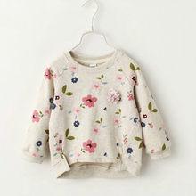 1be5552ac802d6 Nieuwe Aankomen Meisjes Sweatshirts Kraag Verse Bloemen Volledige Mouwen  Peuter Kinderen Kleding Kinderen T-shirt Voor Meisjes