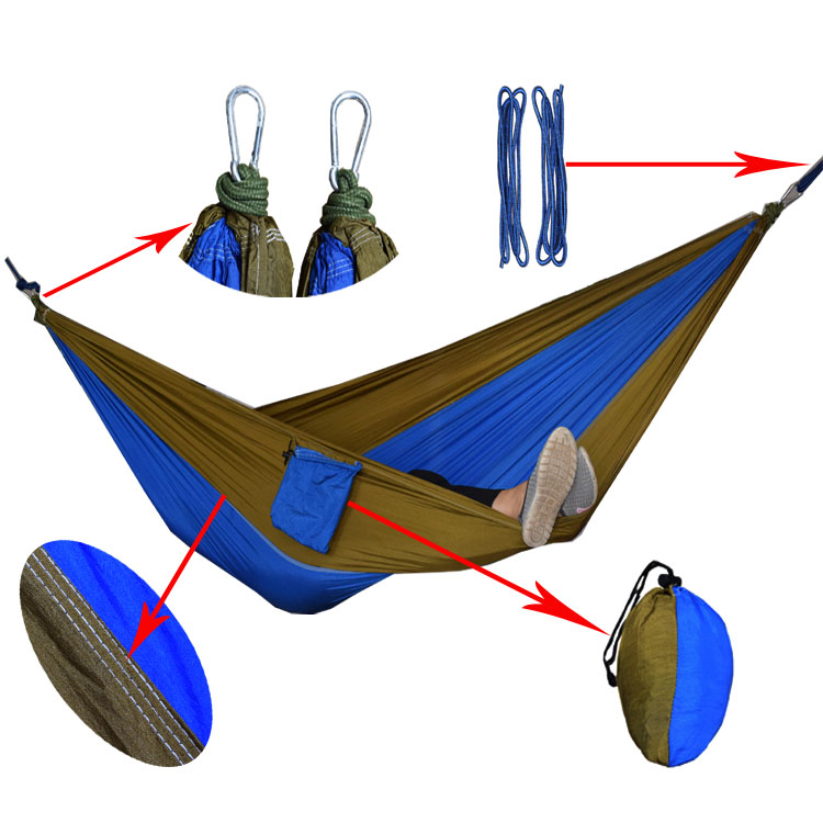 24 Color 2 People Portable Parachute Hammock Camping Survival Garden Flyknit Hunting Leisure Hamac Travel Double Person Hamak 20 color 2 people hammock 2016 camping survival garden hunting leisure travel double person portable parachute hammocks 3m 2m
