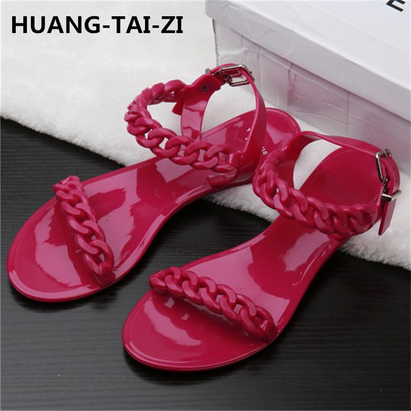 2018 New Europe Summer Flat Sandals Sexy Rivets Studded Ankle Strap Woman Sandals Women Jelly sandals Roman Flats Shoes 35-40 women sandals fashion low heels sandals for summer shoes woman ankle strap flats sandals shoes soft bottom casual shoes 35 44