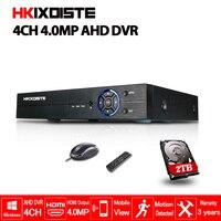 HKIXDISTE Горячие 4CH AHD DVR 4MP CCTV Регистраторы Камера Onvif сети 4 канала IP NVR 5MP 4CH аудио Вход Multi язык 2 ТБ HDD