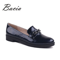 Bacia Vintage Elegant Genuine Leather Flat Shoes Women Handmade Low Heel Chian Flats Solid Dark Blue Spring Fall Shoes VD004