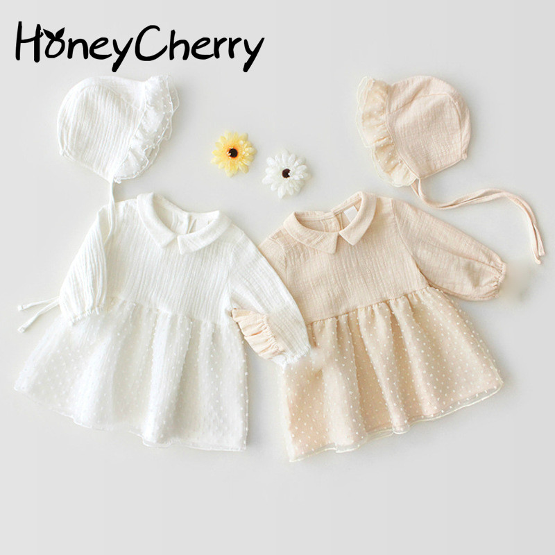 2020 Autumn Baby Bodysuit Female Baby And Lady Long-sleeved Mesh Haven Skirt Pure Cotton Climbing Suit Twins