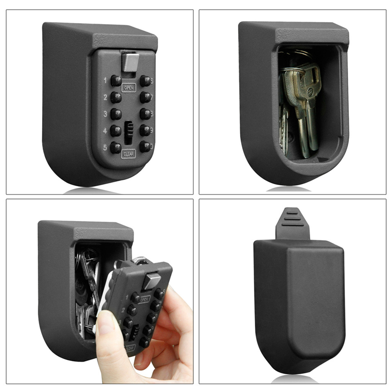 Padlock Door Lock Wall Mount Key Storage Box Organizer Security Locks Zinc Alloy Outdoor Safe with 10 Digit Combination Password