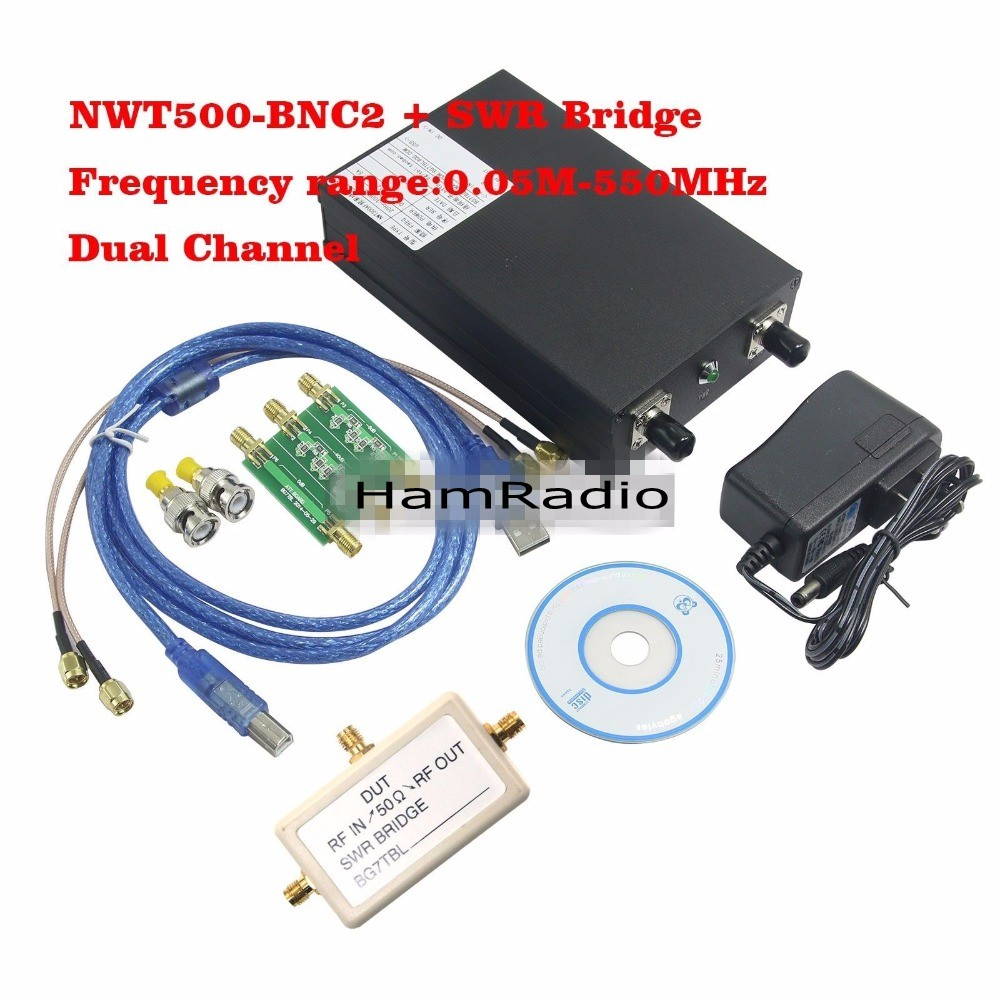 Made By BG7TBL NWT500-BNC2 550Mhz Frequency Sweep Meter Amplitude Frequency Analyzer+SWR Bridge +Attenuator Support WinNWT4