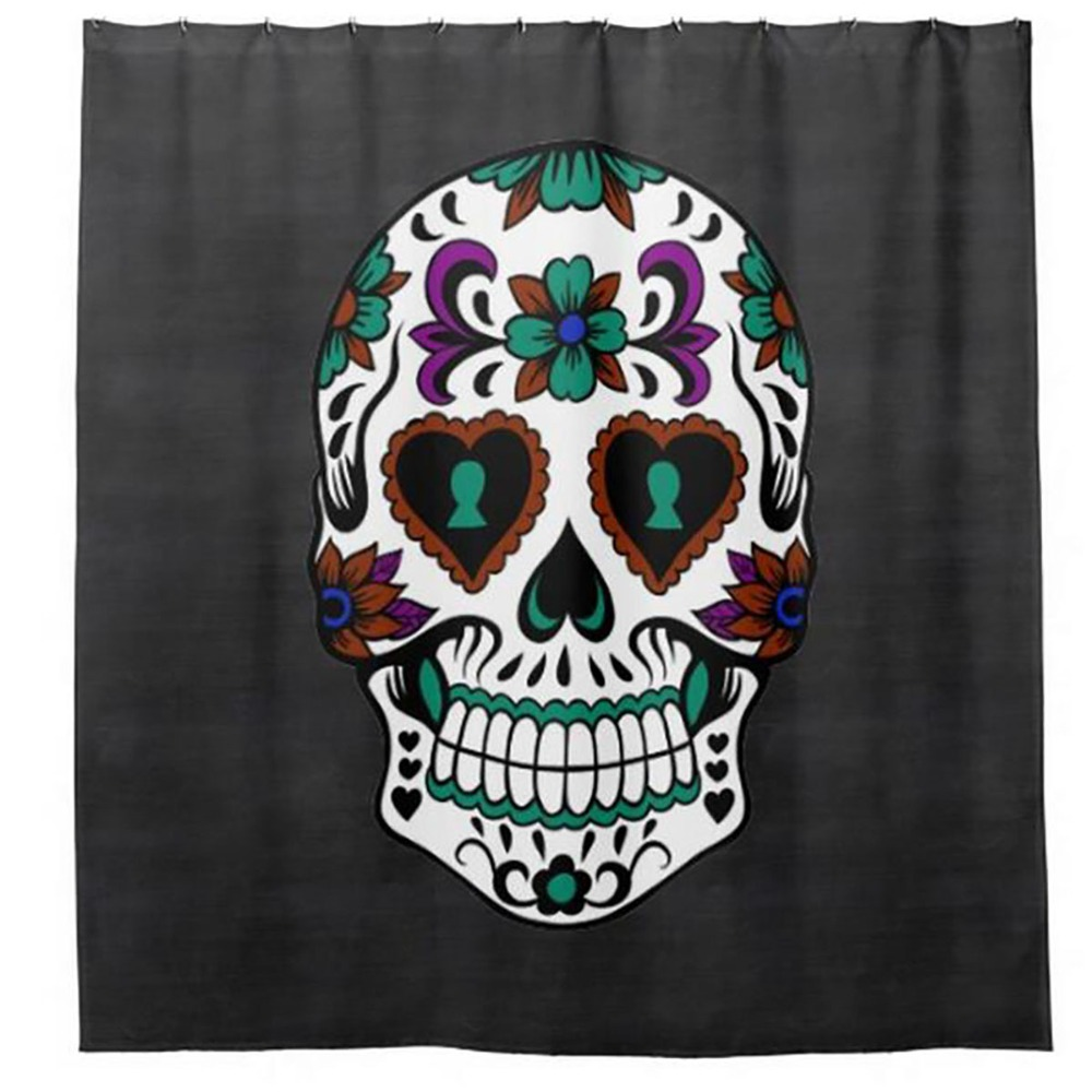 Mexico Skull Floral Shower Curtains Hooks Bathroom Curtain