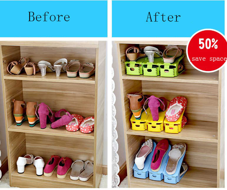 16 шт обувная полка-органайзер для хранения organizador zapatos двойная обувная полка для хранения Регулируемая Экономия пространства обувной шкаф