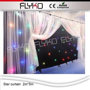 安い価格2メートル* 5メートルledスターカーテンでコントローラrgbw色のカーテン結婚式の装飾90ボルト-240ボルトdj背景