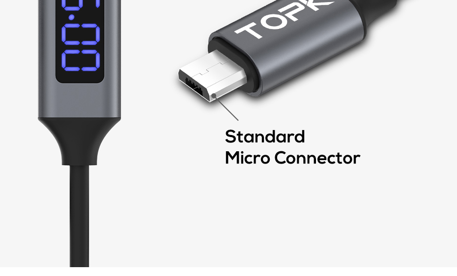 geekoplanet.com - D-Line2 Micro USB Cable Voltage and Current Display Data Sync USB Cable