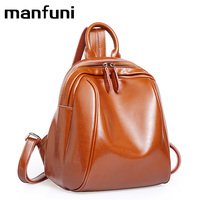 MANFUNI Real Genuine Leather Women's Backpack Shoulder designer Oil wax Bags Ladies Pocket Girl Schoolbag teenage bags for girls