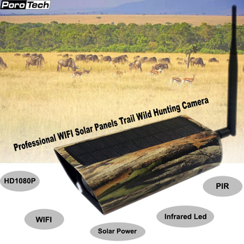 Newest Solar Powered Wild Hunting Camera 1080P WIFI Trail Camera 2MP with Infrared LED PIR Waterproof Night Vision SD Card 1