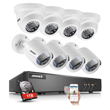 ANNKE 8CH HD 1080N TVI H.264+ DVR With 4 Dome And 4 Bullet 1500TVL In/Outdoor Security Camera System With 1TB HDD DE DU