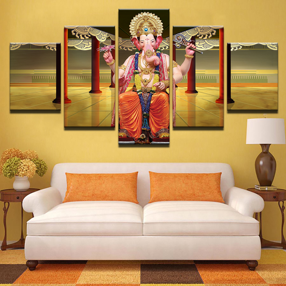 Modular Wall Art Frame Home Decor Poster 5 Pieces India Ganesh ...