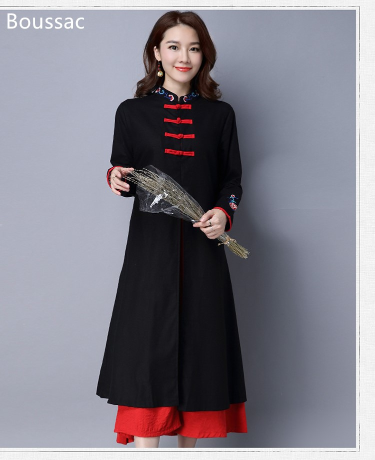 Free shipping Spring long-sleeved Chinese national style big size hit color loosen casual embroidered dress for women