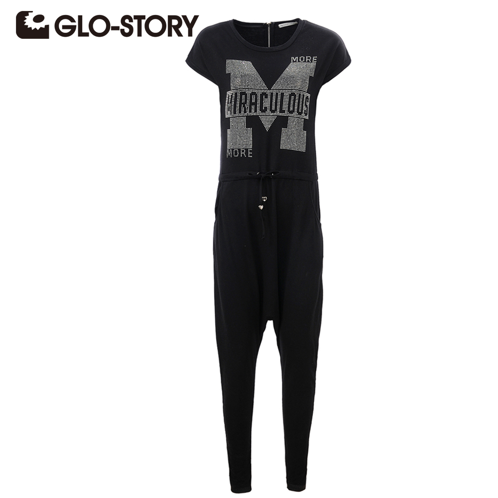 GLO-STORY Summer Jumpsuits Women 2018 Fashion Ladies Jumpsuits Letter Solid Bodysuit Sleeveless knit Long Playsuits WYK-2132
